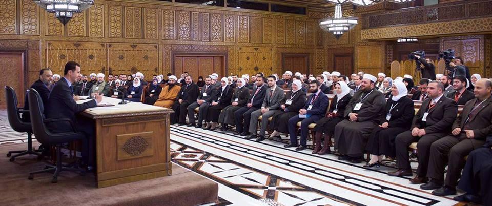 لقاء بشار بفريقه الديني الشبابي